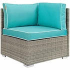 Modway Repose Outdoor Patio Wicker Rattan Corner in Light Gray Turquoise MY-EEI-2956-LGR-TRQ