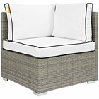 Modway Repose Outdoor Patio Wicker Rattan Corner in Light Gray White MY-EEI-2956-LGR-WHI