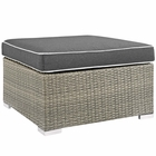 Modway Repose Outdoor Patio Wicker Rattan Ottoman in Light Gray Charcoal MY-EEI-2962-LGR-CHA
