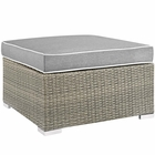 Modway Repose Outdoor Patio Wicker Rattan Ottoman in Light Gray Gray MY-EEI-2962-LGR-GRY