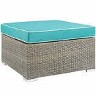 Modway Repose Outdoor Patio Wicker Rattan Ottoman in Light Gray Turquoise MY-EEI-2962-LGR-TRQ