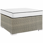Modway Repose Outdoor Patio Wicker Rattan Ottoman in Light Gray White MY-EEI-2962-LGR-WHI