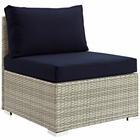Modway Repose Sectional Sofa Outdoor Patio Wicker Rattan Sunbrella® Fabric Armless Chair in Light Gray Navy MY-EEI-2959-LGR-NAV