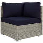 Modway Repose Sectional Sofa Outdoor Patio Wicker Rattan Sunbrella® Fabric Corner in Light Gray Navy MY-EEI-2957-LGR-NAV