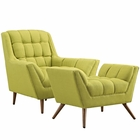Modway Response Lounge Chairs Upholstered Fabric Set of 2 in Wheatgrass MY-EEI-2419-WHE-SET