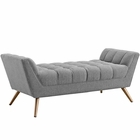Modway Response Medium Upholstered Fabric Bench in Expectation Gray MY-EEI-1789-GRY