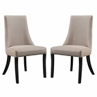 Modway Reverie Dining Side Chair Upholstered Fabric Set of 2 in Beige MY-EEI-1297-BEI