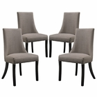 Modway Reverie Dining Side Chair Upholstered Fabric Set of 4 in Gray MY-EEI-1677-GRY
