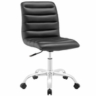 Modway Ripple Armless Mid Back Faux Leather Office Chair in Black MY-EEI-1532-BLK