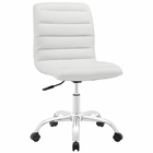 Modway Ripple Armless Mid Back Faux Leather Office Chair in White MY-EEI-1532-WHI