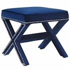 Modway Rivet Upholstered Velvet Ottoman in Navy MY-EEI-2324-NAV