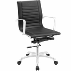 Modway Runway Mid Back Faux Leather Office Chair in Black MY-EEI-1527-BLK