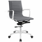 Modway Runway Mid Back Faux Leather Office Chair in Gray MY-EEI-1527-GRY