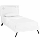 Modway Ruthie Twin Faux Leather Platform Bed with Round Splayed Legs in White MY-MOD-5926-WHI