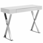 Modway Sector Stainless Steel Console Table in White MY-EEI-2048-WHI-SET