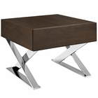 Modway Sector Stainless Steel Nightstand in Brown MY-EEI-2049-BRN-SET