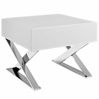 Modway Sector Stainless Steel Nightstand in White MY-EEI-2049-WHI-SET