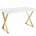 Modway Sector Stainless Steel Office Desk in White Gold MY-EEI-3030-WHI