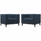 Modway Serve Armchairs Upholstered Fabric Set of 2 in Azure MY-EEI-2455-AZU-SET