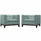 Modway Serve Armchairs Upholstered Fabric Set of 2 in Laguna MY-EEI-2455-LAG-SET
