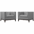 Modway Serve Armchairs Upholstered Fabric Set of 2 in Light Gray MY-EEI-2455-LGR-SET