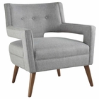 Modway Sheer Upholstered Fabric Armchair in Light Gray MY-EEI-2142-LGR