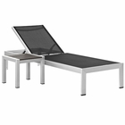 Modway Shore 2 Piece Outdoor Patio Aluminum Chaise Lounge Set in Silver Black MY-EEI-2470-SLV-BLK-SET