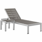 Modway Shore 2 Piece Outdoor Patio Aluminum Chaise Lounge Set in Silver Gray MY-EEI-2465-SLV-GRY-SET