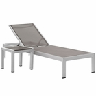 Modway Shore 2 Piece Outdoor Patio Aluminum Chaise Lounge Set in Silver Gray MY-EEI-2470-SLV-GRY-SET