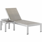 Modway Shore 2 Piece Outdoor Patio Aluminum Set in Silver Gray MY-EEI-2475-SLV-GRY-SET