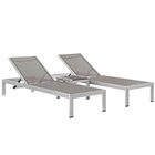 Modway Shore 3 Piece Outdoor Patio Aluminum Chaise Lounge Set in Silver Gray MY-EEI-2471-SLV-GRY-SET
