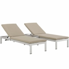 Modway Shore 3 Piece Outdoor Patio Aluminum Chaise with Cushions in Silver Beige MY-EEI-2736-SLV-BEI-SET