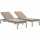 Modway Shore 3 Piece Outdoor Patio Aluminum Chaise with Cushions in Silver Mocha MY-EEI-2736-SLV-MOC-SET