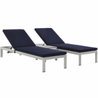 Modway Shore 3 Piece Outdoor Patio Aluminum Chaise with Cushions in Silver Navy MY-EEI-2736-SLV-NAV-SET