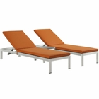 Modway Shore 3 Piece Outdoor Patio Aluminum Chaise with Cushions in Silver Orange MY-EEI-2736-SLV-ORA-SET