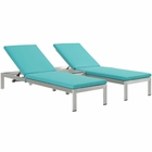 Modway Shore 3 Piece Outdoor Patio Aluminum Chaise with Cushions in Silver Turquoise MY-EEI-2736-SLV-TRQ-SET
