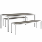 Modway Shore 3 Piece Outdoor Patio Aluminum Dining Set in Silver Gray MY-EEI-2480-SLV-GRY-SET