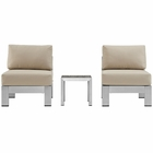 Modway Shore 3 Piece Outdoor Patio Aluminum Sectional Sofa Set in Silver Beige MY-EEI-2598-SLV-BEI