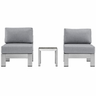 Modway Shore 3 Piece Outdoor Patio Aluminum Sectional Sofa Set in Silver Gray MY-EEI-2598-SLV-GRY