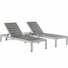 Modway Shore 3 Piece Outdoor Patio Aluminum Set in Silver Gray MY-EEI-2466-SLV-GRY-SET