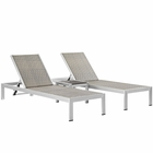 Modway Shore 3 Piece Outdoor Patio Aluminum Set in Silver Gray MY-EEI-2476-SLV-GRY-SET