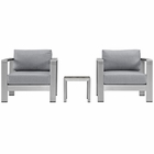 Modway Shore 3 Piece Outdoor Patio Aluminum Set in Silver Gray MY-EEI-2599-SLV-GRY