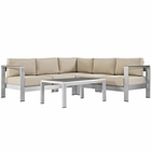 Modway Shore 4 Piece Outdoor Patio Aluminum Sectional Sofa Set in Silver Beige MY-EEI-2559-SLV-BEI