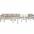 Modway Shore 4 Piece Outdoor Patio Aluminum Sectional Sofa Set in Silver Beige MY-EEI-2563-SLV-BEI