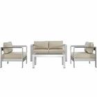 Modway Shore 4 Piece Outdoor Patio Aluminum Sectional Sofa Set in Silver Beige MY-EEI-2567-SLV-BEI