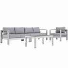 Modway Shore 4 Piece Outdoor Patio Aluminum Sectional Sofa Set in Silver Gray MY-EEI-2563-SLV-GRY