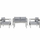 Modway Shore 4 Piece Outdoor Patio Aluminum Sectional Sofa Set in Silver Gray MY-EEI-2567-SLV-GRY