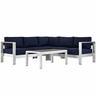 Modway Shore 4 Piece Outdoor Patio Aluminum Sectional Sofa Set in Silver Navy MY-EEI-2559-SLV-NAV