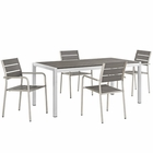 Modway Shore 5 Piece Outdoor Patio Aluminum Dining Set in Silver Gray MY-EEI-2481-SLV-GRY-SET