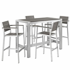 Modway Shore 5 Piece Outdoor Patio Aluminum Dining Set in Silver Gray MY-EEI-2588-SLV-GRY-SET